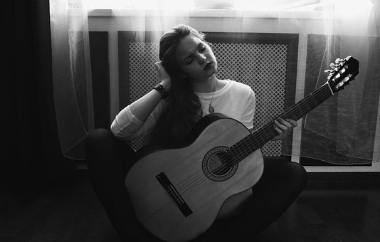 Girl, Guitar, Photo, People, Woman, Young, Hair