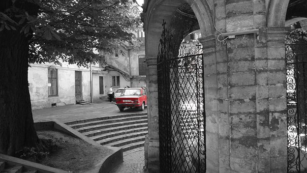 Lions, Car, Red, Old Auto, Auto, Old Car, Retro Car