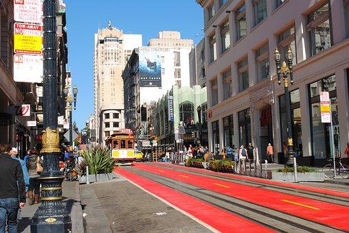 San Francisco, Tram, America, Street, Red, Road