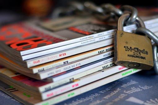Magazines, Lock, Chain, Secured