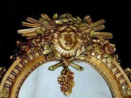 Mirror, Former, Furniture, Wood, Doré, Detail, Symbol