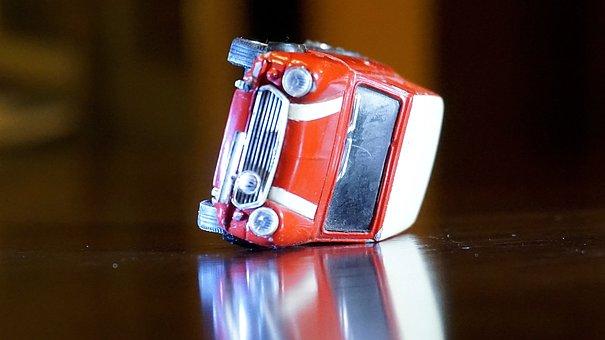 Accident, Mini, Morris, Red, Upset, Miniature, Toy