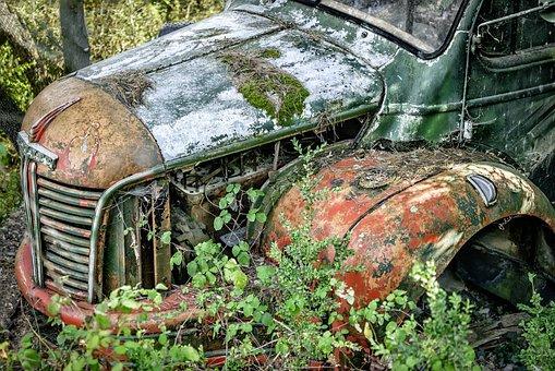 Truck, Abandoned, Car, Broken, Rusty, Old, Scrap, Red