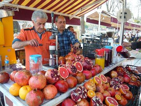 Istanbul, Dealer, Seller, Pomegranates, Turkey, Market