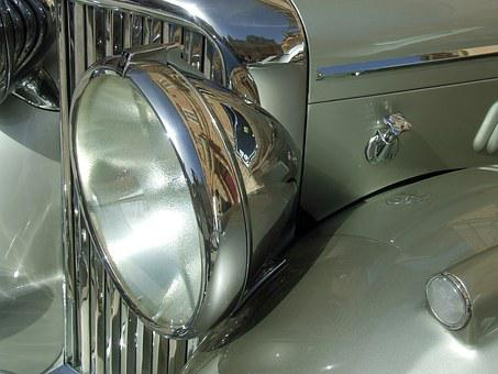 Vintage Car, Old Timer, Chrome Grill, Vetran Car, Car