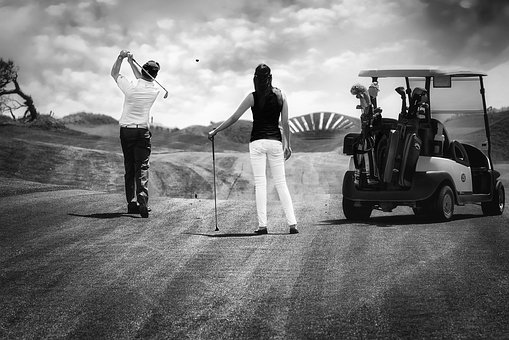 Golf, Sport, B W, Black And White, People, Hobby, Nikon