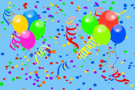 Carnival, Party, Confetti, Balloon, Streamer, Colorful