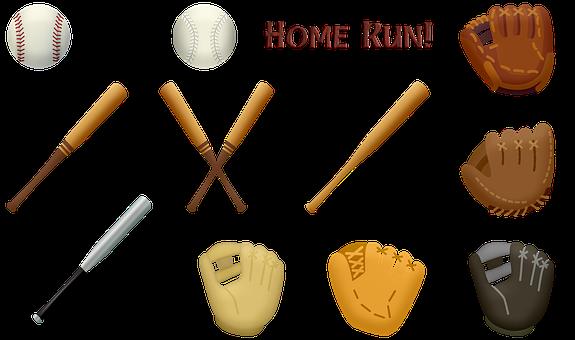 Baseball, Glove, Ball, Bat, Home Run, Softball, Game