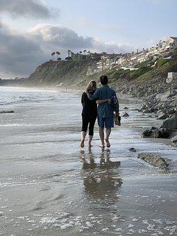 Couple Walking, Beach, Lovers, Couple, Walking, Sea