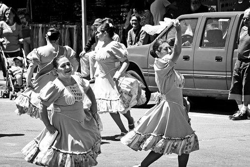 Dance, Folklore, Black And White, Costume, Dancers
