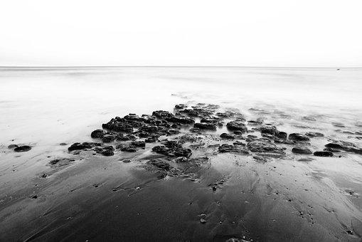 Beach, Black White, Water, Ocean, Mar, Melancholy