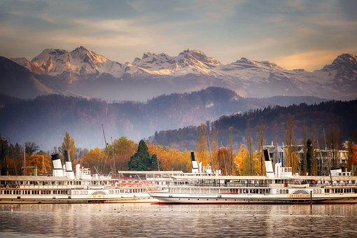 Boat, Water, Lake, Switzerland, Lucerne, City