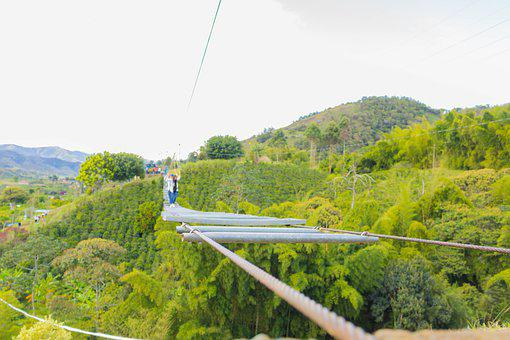 Bridge, Suspension Bridge, Mountain, Green, Nature