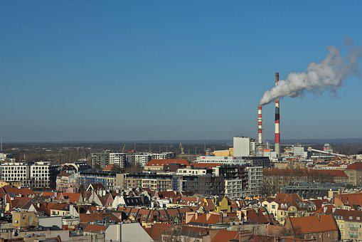 Wrocław, Chimney, Smoke, City, Pollution