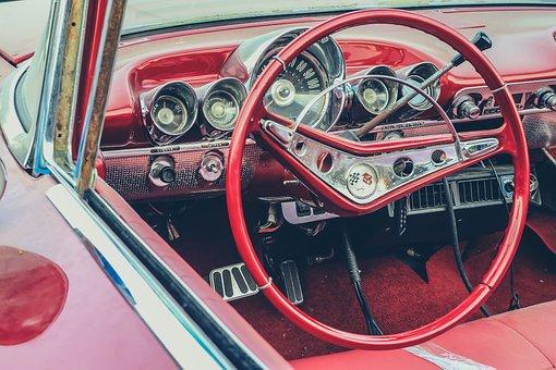 American, Classic, Steering, Auto, Retro, Vehicle