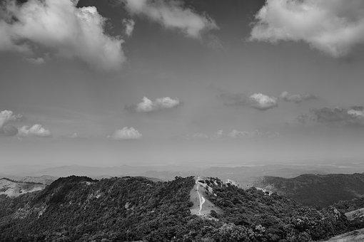 Hills, Clouds, Black And White