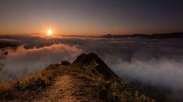 Clouds, Scene, Mountain, Dawn