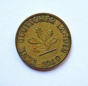Coin, Penny, Deutsche Mark, Federal Republic Of, Oak