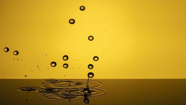 Drop, Beads, Falling Beads, Yellow