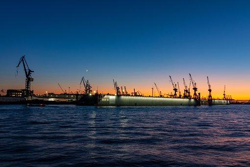 Hamburg, Elbe, Port, River