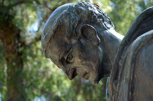 Sculpture, Bronze, Face, The Padre