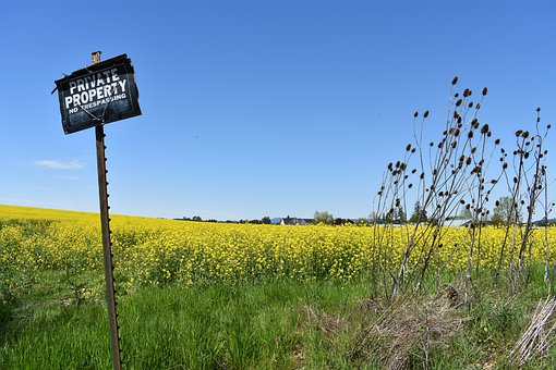 Private Property, Sign, Flowers, Field, Farmers