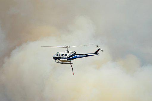 Helicopter, Wildfire, Smoke, Disaster, Firefighters