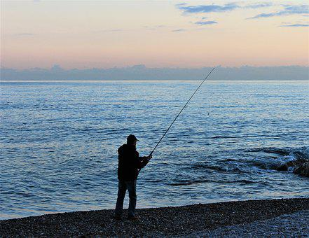 Sunset, Fishing, Fishing Rod, Sea, Pebble, Cloud