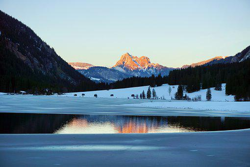 Vilsalpsee, Ice, Alpine, Tannheim, Water Reflection