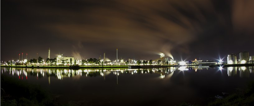Night, Industry, Industrial Area, Building, Factory