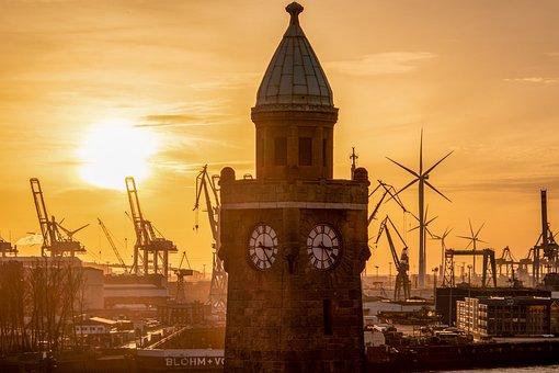 Hamburg, Landungsbrücken, Elbe, Port
