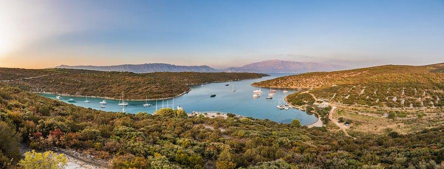 Sunset, Island, Mountain, View, Sea, Water, Dalmatia