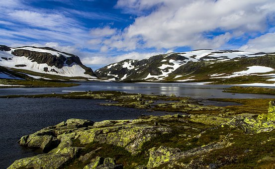 Mountain, Water, Snow, Landscape, Clouds, Summer