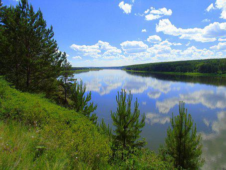 Nature, River, Forest, Tree, Russia
