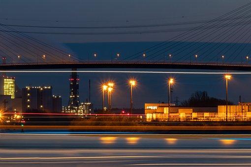 Hamburg, Port, Lights, Elbe, Northern Germany