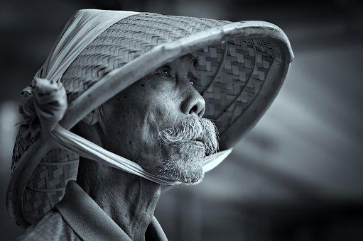 Bamboo Cap, Cone Hat, Shade, Grandfather, Old Guy