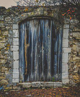 Door, Old, Wooden, Rustic, Wall, Stone