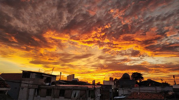 Sunset, Orange Sky, Evening, Orange, Clouds, Sunlight