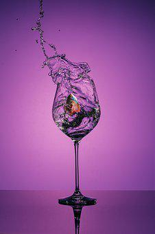 Wine Glass, Wine, Glass, Fish, Violet, Pupple