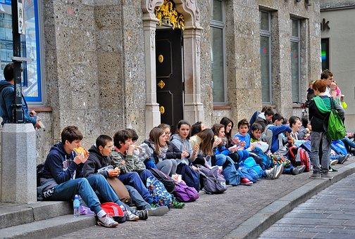 Children, School, Learn, Street, School Bus, Snack