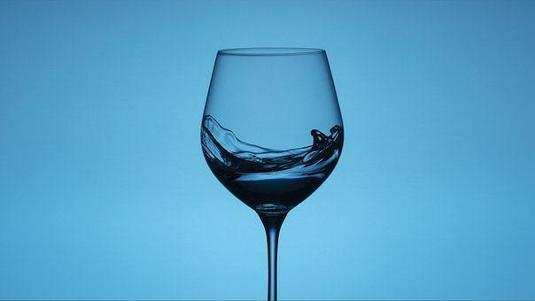 Wineglasses, Snails, Water, Blue