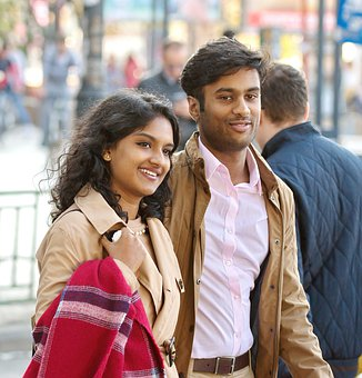 Couple, Young People, Going, Street, Smiling, Happy