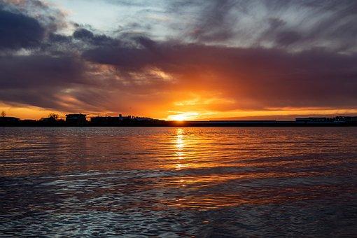 Hamburg, Elbe, Elbe Beach, Sunset, Hanseatic City