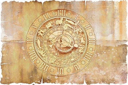 Parchment, Paper, Astronomical Clock, Clock, Time