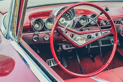 American, Classic, Steering, Auto, Retro, Vehicle