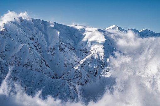 Landscape, Snow Mountain, Cloud, White, Blue, Mt