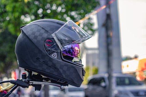 Airport, Motorcycle, Helmets, Biker, Street, People