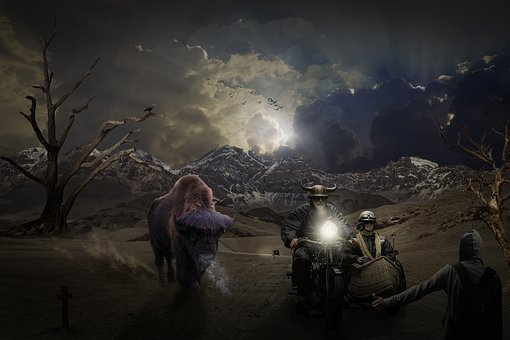 Composing, Photomontage, Wisent, Bull, Surreal, Fantasy