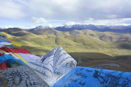 Tibet, Flag, Prayer, Sky, Landscape