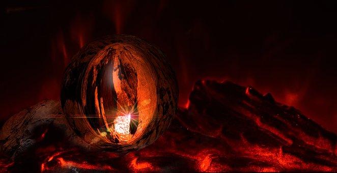 Embers, Ball, Glowing Stone, Flame, Fire, Stone